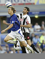 Photo: Aidan Ellis.<br /> Everton v Udinese. Pre Season Friendly.<br /> 03/08/2005.<br /> Everton's Per koldrup and Udinese's Vincenzo Iaquinta