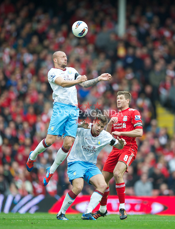 LIVERPOOL, ENGLAND - Saturday, April 7, 2012: Aston Villa's Alan Hutton in action against Liverpool during the Premiership match at Anfield. (Pic by David Rawcliffe/Propaganda)
