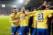 UTRECHT, FC Utrecht - SC Cambuur, voetbal, KNVB Beker, seizoen 2016-2017, 25-01-2017, Stadion De Galgenwaard, Cambuur spelers vieren het behalen van de halve finale van de beker, Cambuur speler Omar El Baad (M), Cambuur speler Farshad Noor (L)  .
