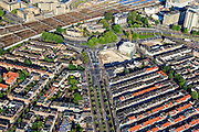 Nederland, Utrecht, Utrecht, 15-07-2012; binnenstad Utrecht, Kanaalstraat in de wijk Lombok.Residential area Lombok in the railway district of Utrecht. .luchtfoto (toeslag), aerial photo (additional fee required).foto/photo Siebe Swart
