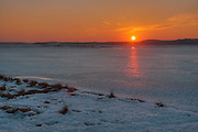 Sunset over Newbury, MA and Plum Island Sound in mid-winter