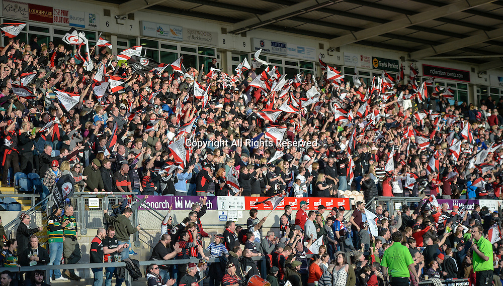 22.03.2015.  Northampton, England. LV Cup Final. Saracens versus Exeter Chiefs. Saracens fans celebrate their team winning the LV Cup.