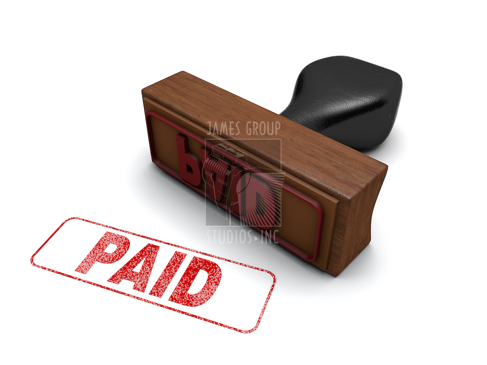 """PAID"" Rubber stamp on a white background with the word ""PAID"" stamped in red"