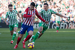 February 3, 2019 - Sevilla, Andalucia, Spain - Feddal of Real Betis and Morata of Atletico de Madrid competes for the ball during the LaLiga match between Real Betis vs Atletico de Madrid at the Estadio Benito Villamarin in Sevilla, Spain. (Credit Image: © Javier MontañO/Pacific Press via ZUMA Wire)