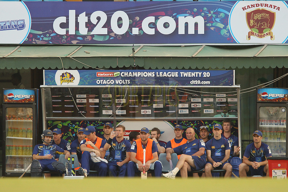 Otago Volts dug out during the Qualifier 1 match of the Karbonn Smart Champions League T20 (CLT20) between Otago Volts and the Faisalabad Wolves held held at the Punjab Cricket Association Stadium, Mohali on the 17th September 2013<br /> <br /> Photo by Ron Gaunt/CLT20/SPORTZPICS<br /> <br /> <br /> Use of this image is subject to the terms and conditions as outlined by the CLT20. These terms can be found by following this link:<br /> <br /> http://sportzpics.photoshelter.com/image/I0000NmDchxxGVv4<br /> <br /> ENTER YOUR EMAIL ADDRESS TO DOWNLOAD