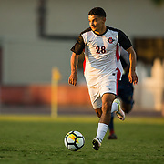 09 September 2018: San Diego State Aztecs forward Damian German (28) brings the ball up the field late in the second half. The San Diego State men's soccer team beat UC Irvine in overtime 2-1 Sunday afternoon at the SDSU Sports Deck.