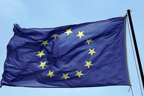 Nederland, Groesbeek, 14-7-2018Wapperende vlag van europa .Foto: Flip Franssen