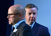 © Licensed to London News Pictures. 01/09/2012. Hammersmith, UK. TOBY YOUNG (L) Co founder of The West London Free School and MICHAEL GOVE (rear).  Michael Gove, Secretary of State for Education speaks at The Free Schools Conference at The West London Free school in Hammersmith today, 1st September 2012.  The event is aimed exclusively at 102 proposer groups that have received approval to open free schools. Photo credit : Stephen Simpson/LNP