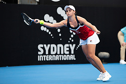 January 11, 2019 - Sydney, NSW, U.S. - SYDNEY, AUSTRALIA - JANUARY 11: Ashleigh Barty (AUS) reaches for a forehand in her game against Kiki Bertens (NED) at The Sydney International Tennis on January 11, 2018, at Sydney Olympic Park Tennis Centre in Homebush, Australia. (Photo by Speed Media/Icon Sportswire) (Credit Image: © Steven Markham/Icon SMI via ZUMA Press)