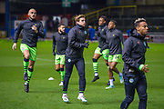 The Forrest Green Rovers players warm up before the The FA Cup match between Carlisle United and Forest Green Rovers at Brunton Park, Carlisle, England on 10 December 2019.