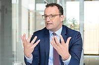 19 AUG 2019, BERLIN/GERMANY:<br /> Jens Spahn, CDU, Bundesgesundheitsminister, waehrend einem Doppel-Interview mit F ranziska G iffey (nicht im Bild), SPD, Bundesfamilienministerin, und , Redaktionsvertretung der Rheinischen Post<br /> IMAGE: 20190819-01-047