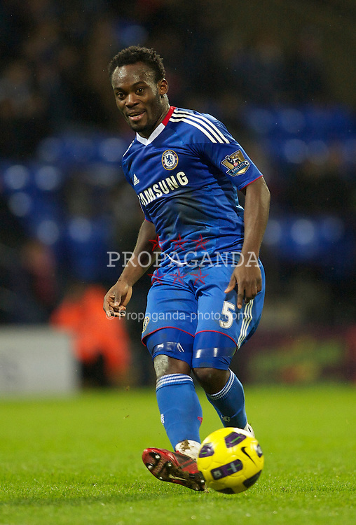 BOLTON, ENGLAND - Monday, January 24, 2011: Chelsea's Michael Essien in action against Bolton Wanderers during the Premiership match at the Reebok Stadium. (Photo by David Rawcliffe/Propaganda)