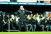 Newcastle United manager Steve Bruce issues instructions from the sideline during the Premier League match between Newcastle United and Southampton at St. James's Park, Newcastle, England on 8 December 2019.