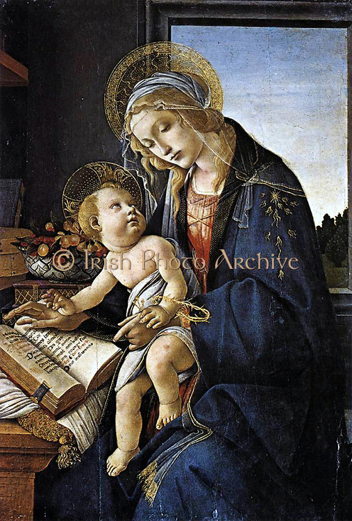 Sandro Botticelli (c. 1445 – 1510) Italian painter of the Florentine school during the Early Renaissance, 'I, 'Madonna of the book' 1483