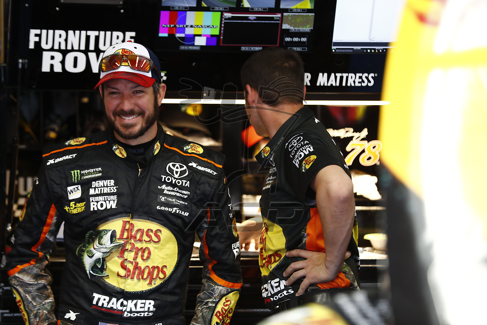 May 25, 2017 - Concord, NC, USA: Martin Truex Jr. (78) hangs out in the garage during practice for the Coca Cola 600 at Charlotte Motor Speedway in Concord, NC.