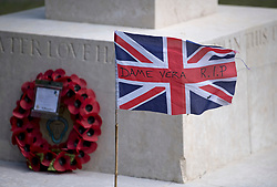 "© Licensed to London News Pictures. 10/07/2020. London, UK. A flag displaying with the words ""DAME VERA RIP"" on a war memorial in the town of Ditchling, East Sussex, ahead of the funeral of Dame Vera Lynn. The 'Forces' Sweetheart', who died last month aged 103, was famous for singing performances during WW2, which helped raise morale amongst troops abroad. Photo credit: Ben Cawthra/LNP"