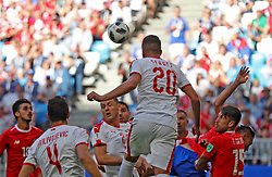 SAMARA, June 17, 2018  Sergej Milinkovic-Savic (top) of Serbia competes for a header during a group E match between Costa Rica and Serbia at the 2018 FIFA World Cup in Samara, Russia, June 17, 2018. (Credit Image: © Fei Maohua/Xinhua via ZUMA Wire)