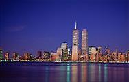 Twin Towers of the World Trade Center, designed by Minoru Yamasaki, Hudson River, Manhattan, New York City, New York, USA, Dusk, 1997