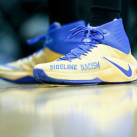 07 December 2016:  Golden State Warriors forward Draymond Green (23) Nike 'Sideline Racism' shoes prior to the Golden State Warriors 115-98 victory over the Los Angeles Clippers, at the Staples Center, Los Angeles, California, USA.
