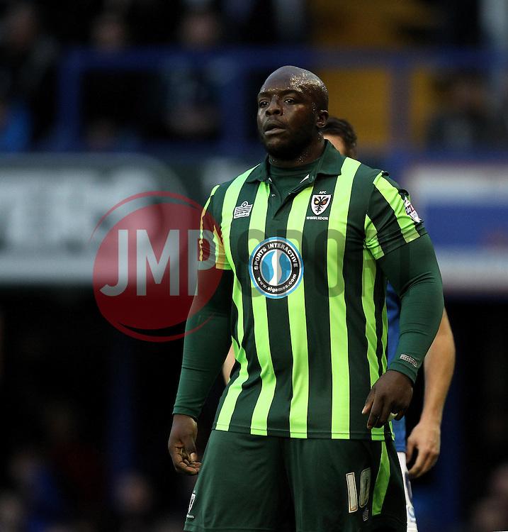 Adebayo Akinfenwa of AFC Wimbledon - Mandatory byline: Robbie Stephenson/JMP - 07966 386802 - 15/11/2015 - Rugby - Fratton Park - Portsmouth, England - Portsmouth v AFC Wimbledon - Sky Bet League Two