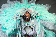 NEW ORLEANS, LA - APRIL 30:  Joseph Boudreaux, Jr. of the Golden Eagles Mardi Gras Indians performs during the 2017 New Orleans Jazz & Heritage Festival at Fair Grounds Race Course on April 30, 2017 in New Orleans, Louisiana.  (Photo by Erika Goldring/Getty Images)