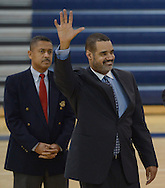 Atlanta - August 7, 2013:  Atlanta School Board Chairman Reuben R. McDaniel, III waves to students  on the first day of school at B.E.S.T Academy (Business Engineering Science Technology) on Wednesday, August 7, 2013.  Over 80 members of the 100 Black Men of Atlanta greeted the boys and their parents as they arrived at school.  The boys were inspired by former Atlanta Mayor Andrew Young to become leaders in the community.  Young spoke to boys in the middle school and high School.  The school is an all male school.  Today was the first day back to school for students in Atlanta. ©Johnny Crawford/ The Image Works