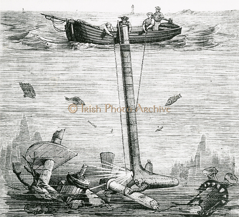 'Jobard's 'Submarine explorer', Burssels, 1855. Diver lay at foot of metal sock and was able to manipulate tools through flexible metal arms. Engraving, c1870.'