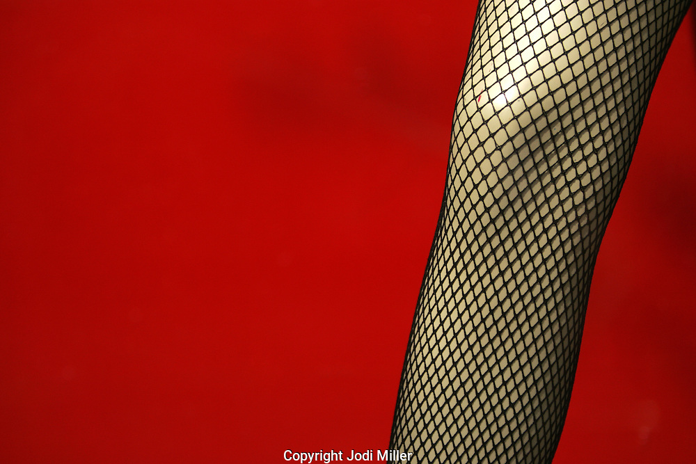 A leg with fishnet stockings in front of a red background.