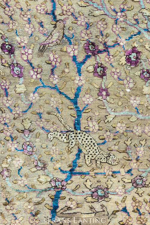 Spotted cat depicted on famous carpet portraying animals native to Iran, National Carpet Museum, Tehran, Iran