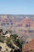 View of The Grand Canyon from the South Rim in Arizona USA. One of the Seven Natural Wonders of the World, the canyon was created by the Colorado River millions of years ago. The canyon is 277 river miles long, up to 18 miles wide and a mile deep.