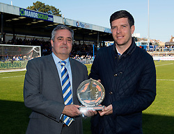 Chairman Nick Higgs presents Bristol Rovers Manager, Darrell Clarke with his manager of the month award  - Photo mandatory by-line: Joe Meredith/JMP - Mobile: 07966 386802 - 07/03/2015 - SPORT - Football - Bristol - Memorial Stadium - Bristol Rovers v Eastleigh - Vanarama Football Conference