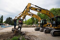 Starting with the reconstruction of olympic swimming pool Kolezija on May 11, 2014, in Kopalisce Kolezija, Ljubljan, Slovenia. Photo by Vid Ponikvar / Sportida