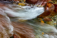 Creek flow in Avalanche Creek in Glacier National Park, Montana, USA