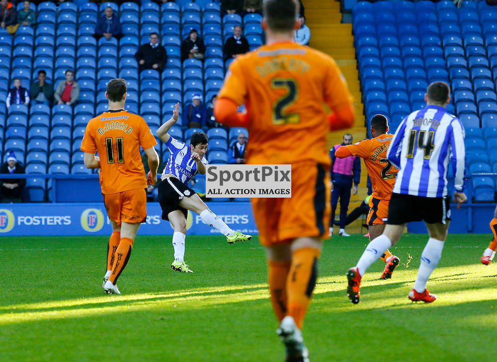 Fernando Forestieri scores his second during Sheffield Wednesday v Wolves, SkyBet Championship, Sunday 20th December 2015, Hilsborough, Sheffield