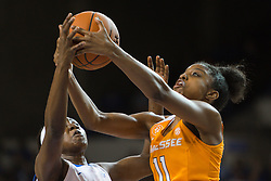 Tennessee guard Diamond DeShields grabs a rebound in the second half.<br /> <br /> The University of Kentucky hosted the University of Tennessee, Monday, Jan. 25, 2016 at Memorial Coliseum in Lexington .