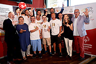 Warsaw, Poland - 2018 May 10: (L-R) Maciej Stanecki and Joanna Styczen and Robert Sosnowski  and Adam Jaczewski and Special Olympics Ambassador Andrzej Wrona and Kuba Kazibet and Cezary Kubik and Dariusz Wosz and Maria Ptak and Michal Olszanski pose to the picture Special Olympics Press Conference at Marriott Champions Sport Bar on May 10, 2018 in Warsaw, Poland.<br /> <br /> Adam Nurkiewicz declares that he has no rights to the image of people at the photographs of his authorship.<br /> <br /> Picture also available in RAW (NEF) or TIFF format on special request.<br /> <br /> Any editorial, commercial or promotional use requires written permission from the author of image.<br /> <br /> Image can be used in the press when the method of use and the signature does not hurt people on the picture.<br /> <br /> Mandatory credit:<br /> Photo by © Adam Nurkiewicz / Mediasport