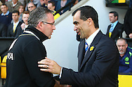 Picture by Paul Chesterton/Focus Images Ltd.  07904 640267.11/03/12.Norwich Manager Paul Lambert and Wigan Athletic Manager Roberto Martinez before the Barclays Premier League match at Carrow Road Stadium, Norwich.