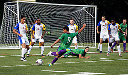10 May 2016. New Orleans, Louisiana.<br /> NPSL Soccer, Pan American Stadium.<br /> New Orleans Jesters v Shreveport Rafters FC in the first leg of the Louisiana Cup. Jesters win 2-0. <br /> Photo; Charlie Varley/varleypix.com