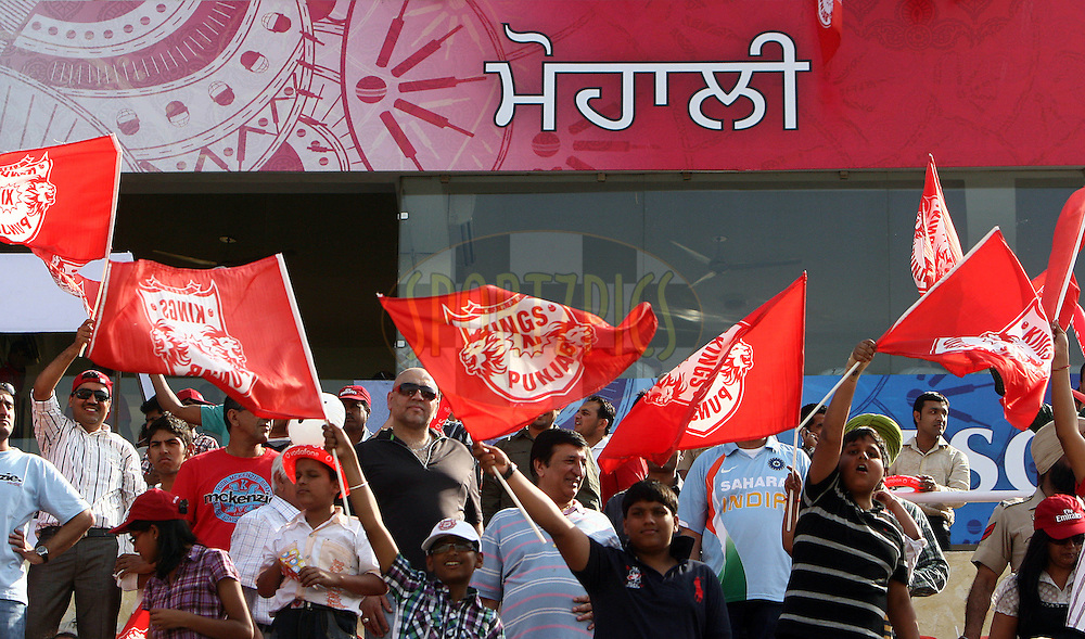 Crowd cheer in support of Kings XI Punjab during match 9 of the Indian Premier League ( IPL ) Season 4 between the Kings XI Punjab and the Chennai Super Kings held at the PCA stadium in Mohali, Chandigarh, India on the 13th April 2011..Photo by Money Sharma/BCCI/SPORTZPICS