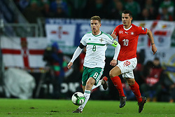 November 12, 2017 - Basel, Switzerland - FIFA World Cup Qualifiers play-off Switzerland v Northern Ireland.Steven Davis of Northern Ireland and Granit Xhaka of Switzerland at St. Jakob-Park in Basel, Switzerland on November 12, 2017. (Credit Image: © Matteo Ciambelli/NurPhoto via ZUMA Press)