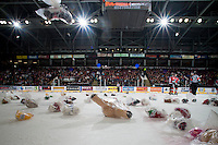 KELOWNA, CANADA - DECEMBER 6: Teddy Bears land on the ice after the first goal of the Kelowna Rockets against the Prince Albert Raiders on December 6, 2014 at Prospera Place in Kelowna, British Columbia, Canada.  (Photo by Marissa Baecker/Shoot the Breeze)  *** Local Caption *** Teddy Bears;