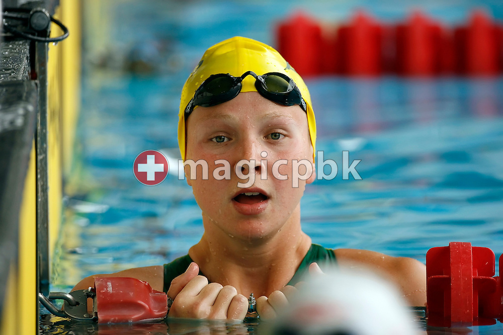 Melanie SCHLANGER of Australia reacts after competing in the women's 100m freestyle heats on day 2 at the 28th International Swimming Meet (50m) held at Piscina Pere Serrat in Barcelona, Spain, Thursday, June 14, 2007. (Photo by Patrick B. Kraemer / MAGICPBK)