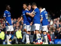 Football - 2018 / 2019 Premier League - Everton vs. Arsenal<br /> <br /> Seamus Coleman and Phil Jagielka of Everton celebrate at the end of the game, at Goodison Park.<br /> <br /> COLORSPORT/ALAN MARTIN