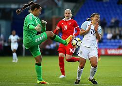 Tatyana Shcherbak of Russia challenges Fran Kirby of England - Mandatory by-line: Matt McNulty/JMP - 19/09/2017 - FOOTBALL - Prenton Park - Birkenhead, United Kingdom - England v Russia - FIFA Women's World Cup Qualifier