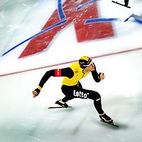 Nederland, Groningen, 18-01-2015.<br /> Schaatsen, NK Sprint, 500 meter, mannen.<br /> Hein Otterspeer op de 2e 500 meter. Otterspeer wordt de nieuwe nederlands kampioen sprint.<br /> Foto: Klaas Jan van der Weij