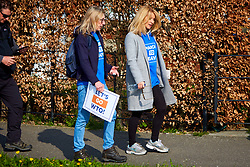 © Licensed to London News Pictures. 28/03/2019. Aylesbury, UK.  ESTHER McVEY MP (right) starts walking on the penultimate day of the March For Leave before heading to Beaconsfield.  A few hundred people starting walking from Sunderland two weeks ago and the march finishes in London tomorrow (Friday). Photo credit: Cliff Hide/LNP
