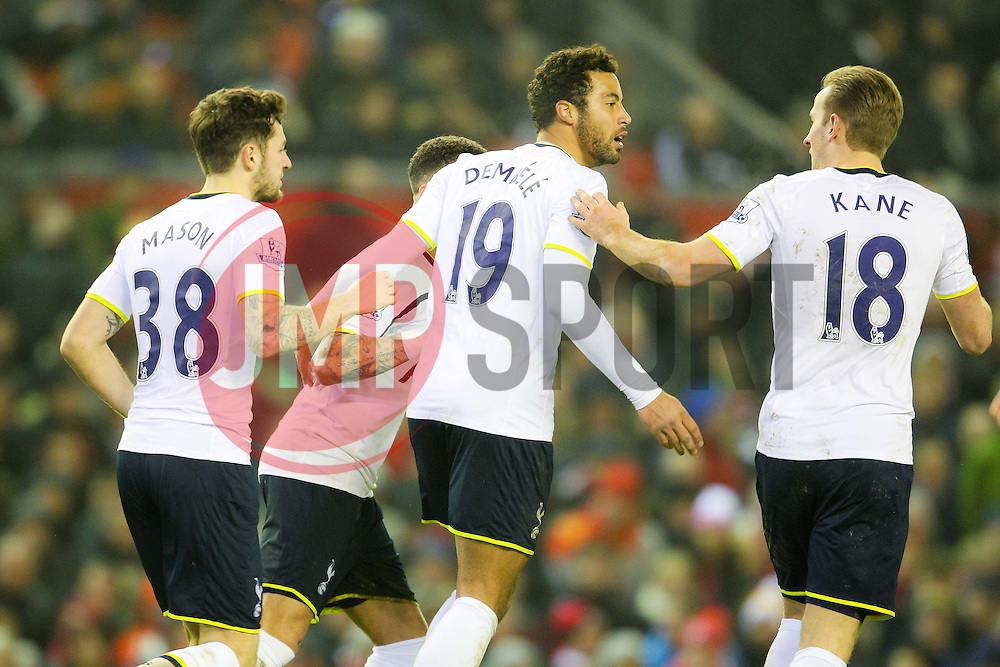 Tottenham Hotspur's Mousa Dembele celebrates after equalising for 2-2 - Photo mandatory by-line: Matt McNulty/JMP - Mobile: 07966 386802 - 10/02/2015 - SPORT - Football - Liverpool - Anfield - Liverpool v Tottenham Hotspur - Barclays Premier League