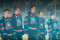 KELOWNA, CANADA - SEPTEMBER 22: Conner Bruggen-Cate #20, Kyle Pow #21, Braydyn Chizen #22, Kyle Topping #24 and Kyle Crosbie #25 of the Kelowna Rockets stand on the blue line against the Kamloops Blazers  on September 22, 2018 at Prospera Place in Kelowna, British Columbia, Canada.  (Photo by Marissa Baecker/Shoot the Breeze)  *** Local Caption ***