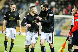 Falkirk's John Baird after Dumbarton's Grant Gallagher's tackle. <br /> Falkirk 1 v 0 Dumbarton, Scottish Championship game played 26/12/2015 at The Falkirk Stadium.