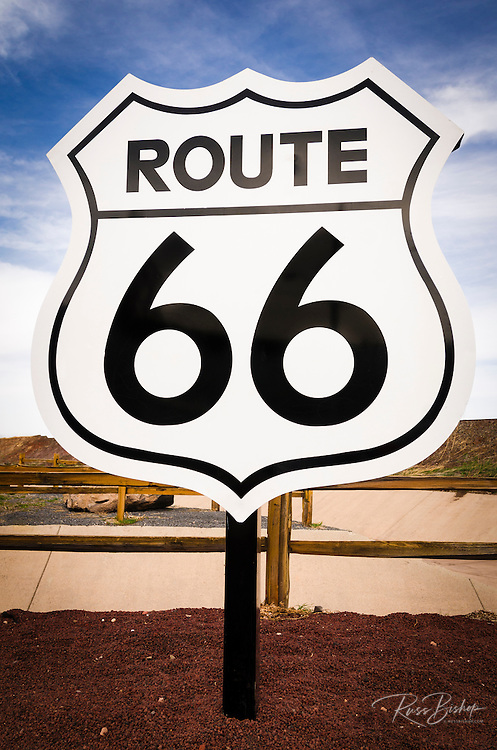 Highway sign on historic Route 66, Seligman, Arizona USA